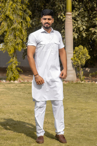 Arana Men's Giza Cotton White Colour Kurta Pyjama Set