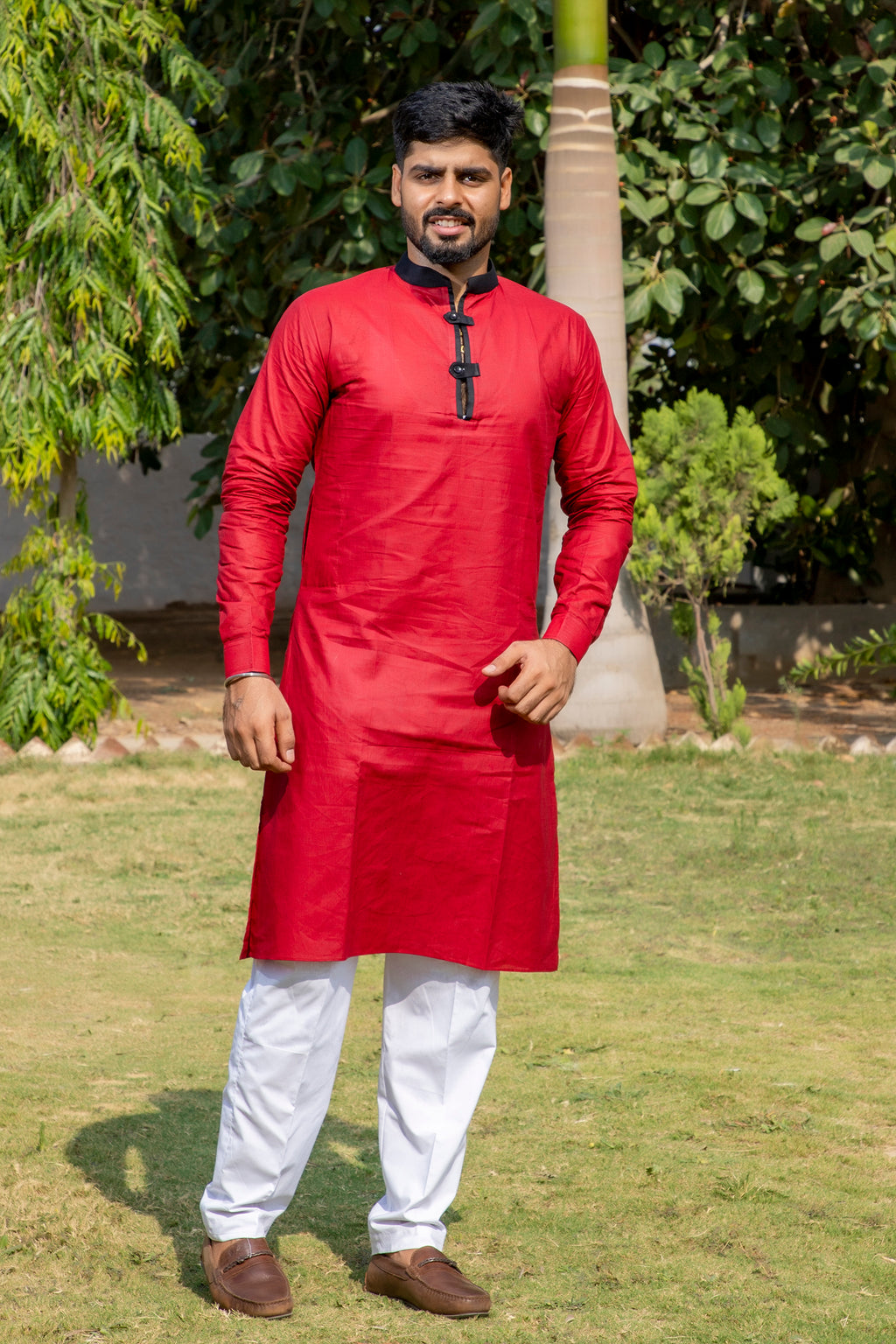 Arana Men's Giza Cotton Red Colour Kurta Pyjama Set