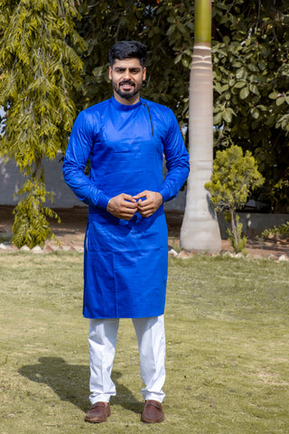 Arana Men's Giza Cotton Blue Colour Kurta Pyjama Set
