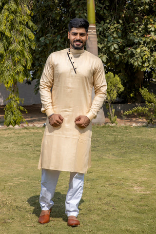 Arana Men's Giza Cotton Shiny Ivory Colour Kurta Pyjama Set