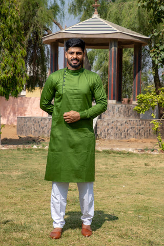 Arana Men's Giza Cotton Green Colour Kurta Pyjama Set