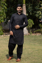 Load image into Gallery viewer, Arana Men's Giza Cotton Black Colour Patila Kurta Pyjama Set