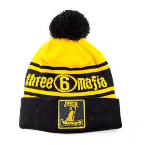 "Hypnotize Minds ""Knitted Pom Beanie"" Yellow / Black"