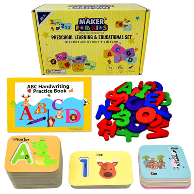 KOKO AROMA Alphabet Flash Cards - Preschool Activities Learning Montessori Toys ABC Wooden Letters Jigsaw Numbers Alphabets Puzzles Flashcards for Age 2 3 4 Years Old (FC-WoodAlpha)