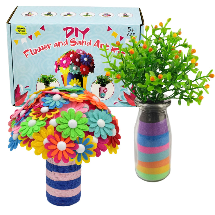 KOKO AROMA Create Your Own Kids Arts and Crafts Toy Vase and Flowers, Fun DIY Craft Kit for Girls Boys, Kids Arts and Crafts Toy