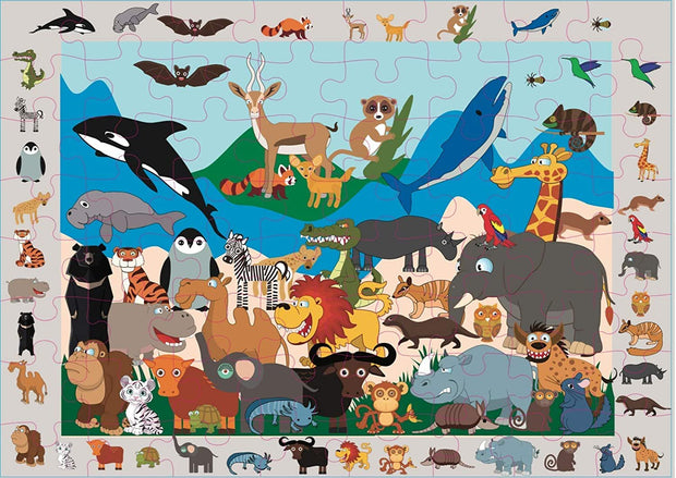 "Endangered Animals I SPY and Find Double-Sided Puzzle, 64 Pieces, 23""x16.5"", Educational Fact Sheet, Kids Ages 4 to 8 - Colorful Illustrations of Animals, Birds, and Fish, Two Fun Puzzles in One Box"