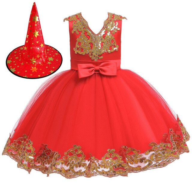 Floral Star Princess Halloween Tulle Dress+Hat