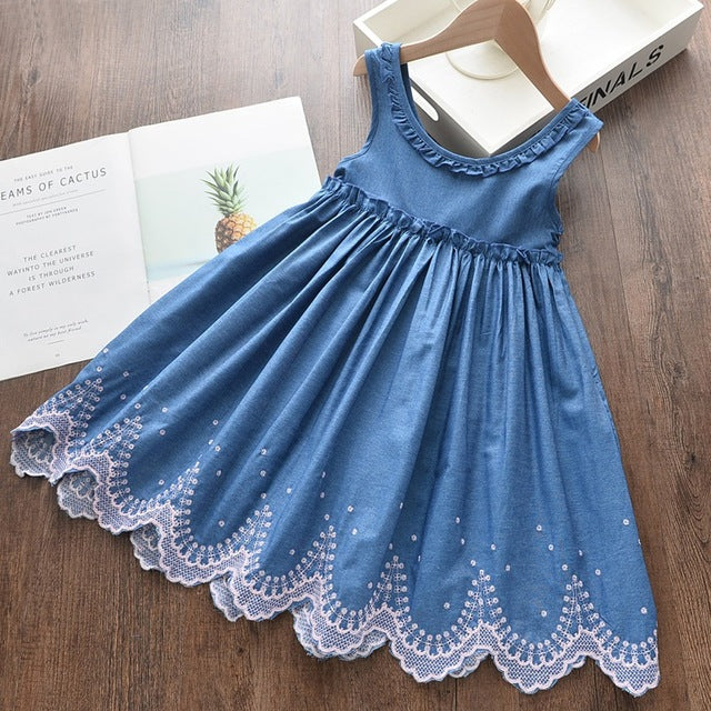 Mabel Pleated O Neck Printing Denim   Dress