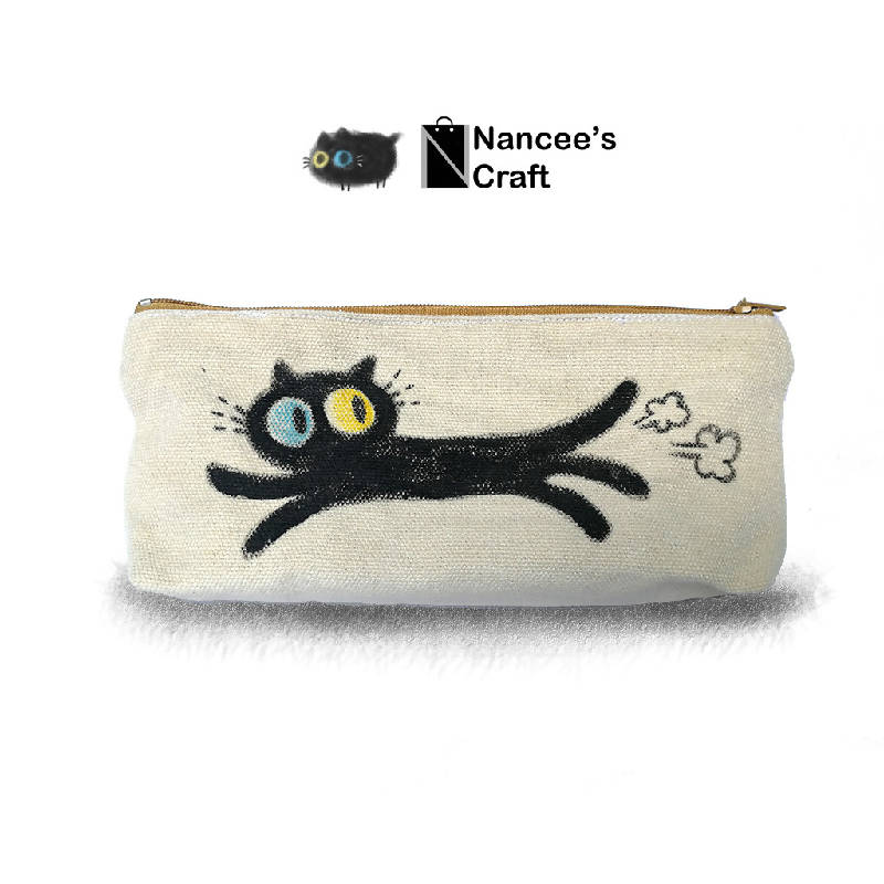 Multi purpose hand drawn pouch (canvas)