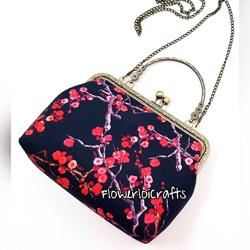 Red Sakura Framed Bag