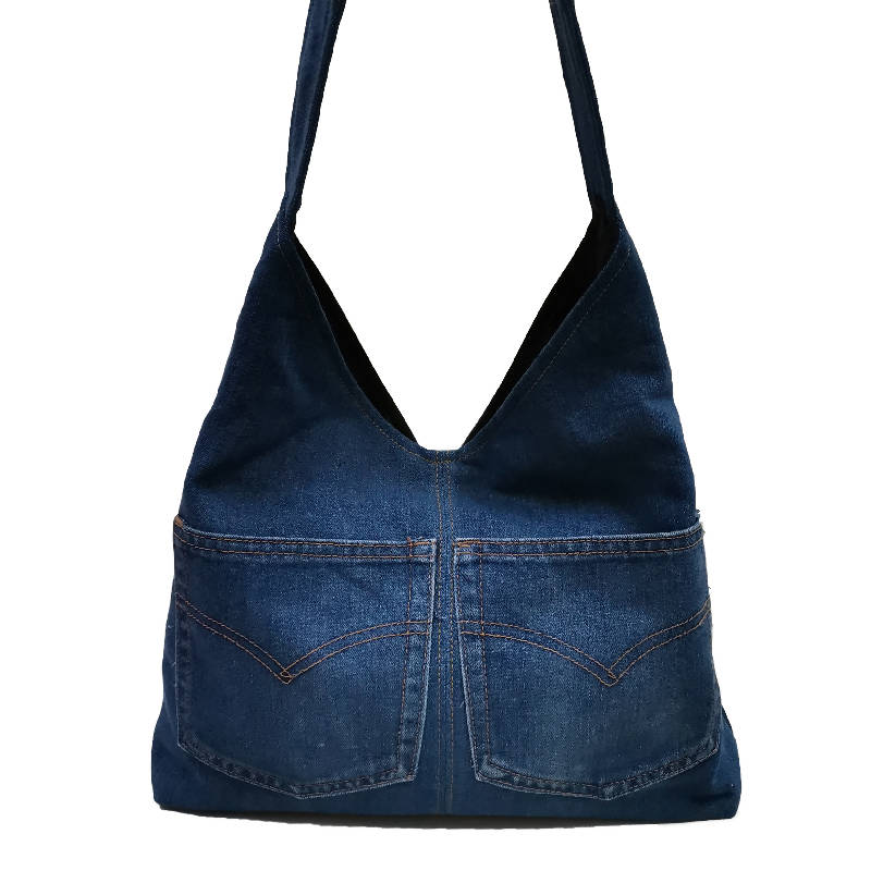 Handmade Upcycled Denim Shoulder Bag