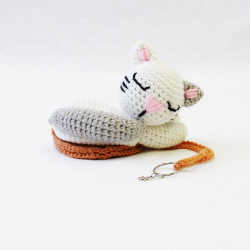 Sleeping Cat Crochet Key Chain