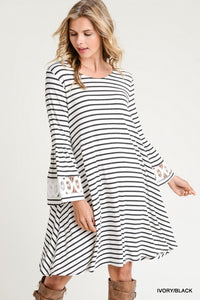 Striped Bell Sleeve Dress (Brick Red)