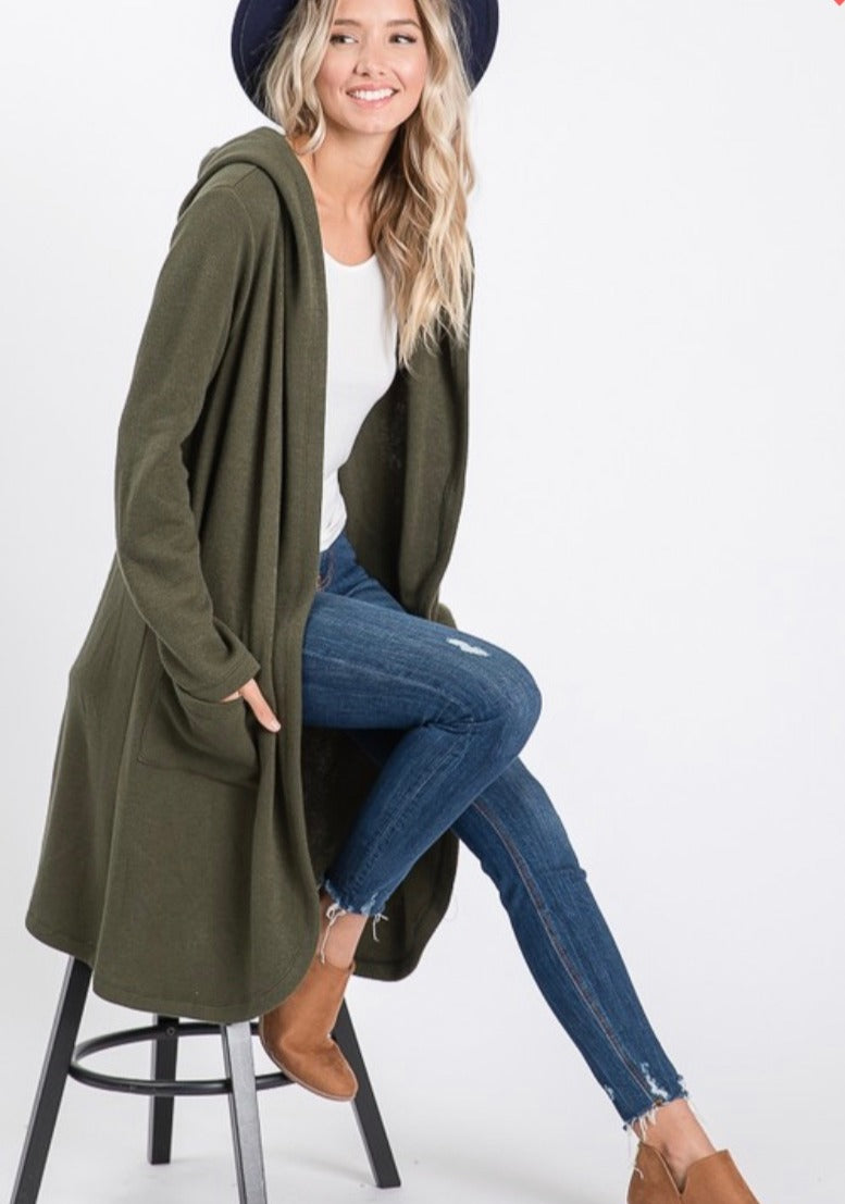 Olive Longline Hooded Cardigan