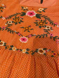 Pleasant Orange Embroidered Top