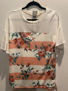 Striped Floral Love Top