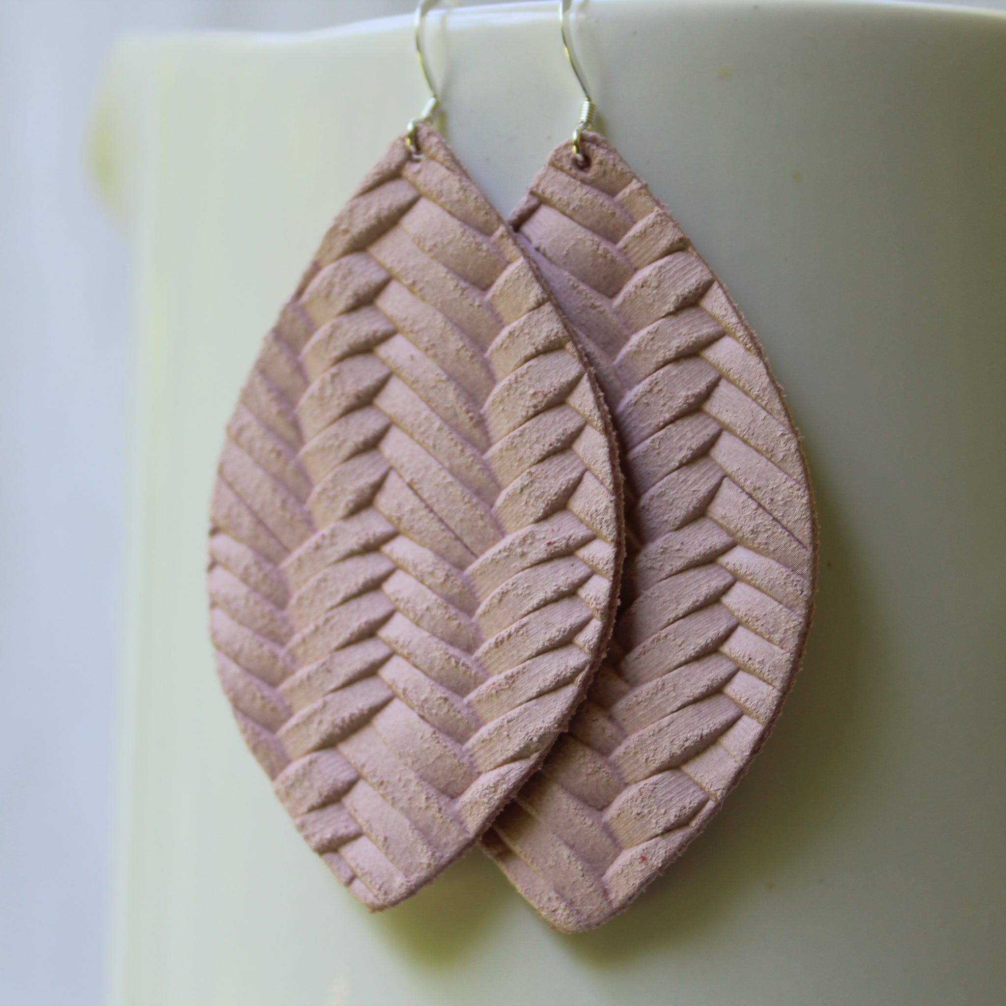 Blush Leather Earring