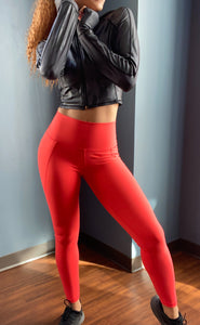 Helen High Waist Leggings w/ Pockets- Orange