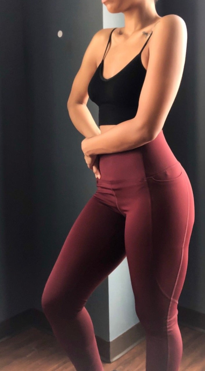 Aaliyah Shaper High Waist Leggings- Burgundy