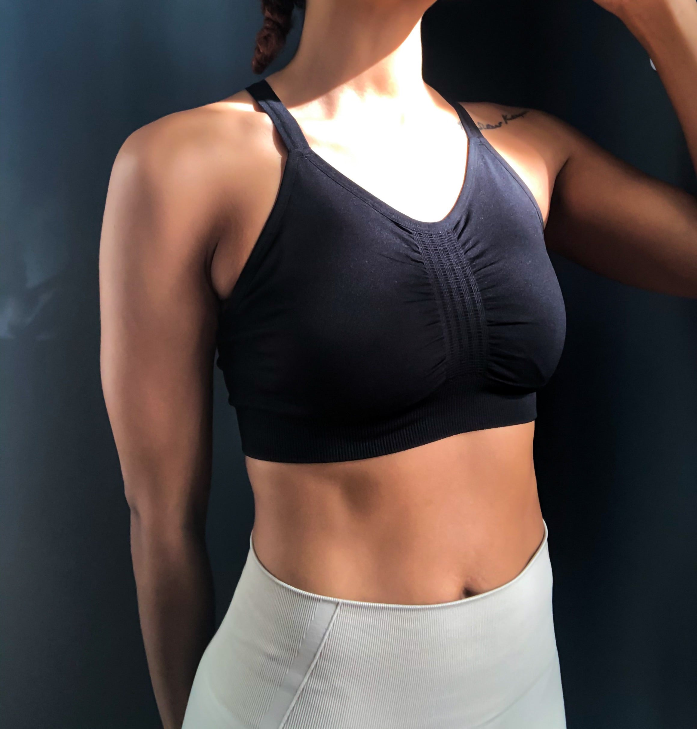 Seamless Criss Cross Sports Bra- Black
