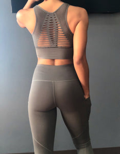 Laser Cut Sports Bra- Smoke