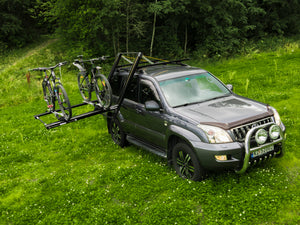 Dropracks Black XL elevating lowerable roof rack with bike carriers and mtb