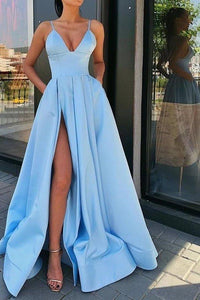 A Line Blue Satin Long Prom Dresses V Neck High Slit Formal Evening Dresses with Pockets XHMPST14992