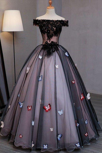 Princess Black Off the Shoulder Butterfly Appliqued Prom Dresses Quinceanera XHMPST13259