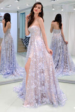 Load image into Gallery viewer, Charming Sweetheart Strapless Lace Appliques Lilac Prom Dresses with XHMPST20404