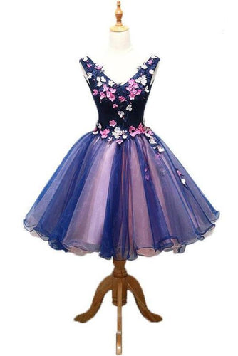 Purple Tulle V Neck Straps Lace up Homecoming Dresses with 3D Flowers Dance XHMPST13328