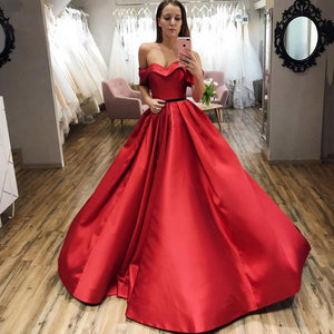 Red Ball Gown Off the Shoulder V Neck Satin Prom Dresses Evening XHMPST20432
