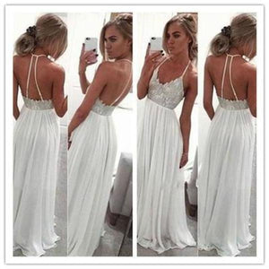 White Chiffon Sequin Long Prom Dress For Teens Backless Long Prom Dresses Wedding XHMPST14486