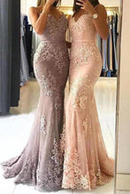 Load image into Gallery viewer, Unique Sweetheart Spaghetti Straps Lace Appliques Mermaid Long Prom XHMPST14377
