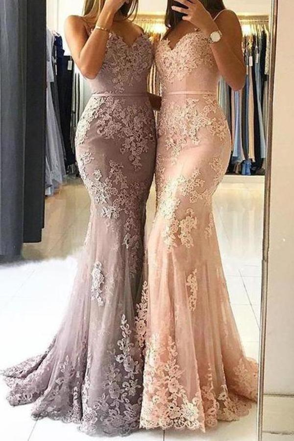 Unique Sweetheart Spaghetti Straps Lace Appliques Mermaid Long Prom XHMPST14377