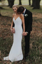 Load image into Gallery viewer, Spaghetti Straps Mermaid Backless V Neck Beach Wedding Dresses Boho Bridal XHMPST14040
