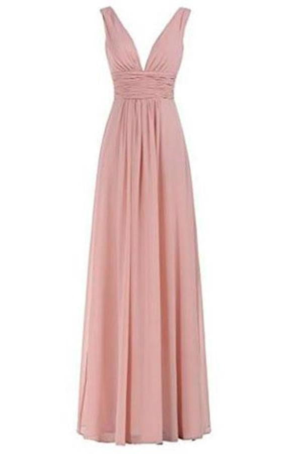Sexy V-Neck Ruched Waist Long Prom Evening Gown Bridesmaid XHMPST13746