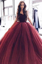 Load image into Gallery viewer, Ball Gown Burgundy Tulle Strapless Sweetheart Prom Dresses Quinceanera Dresses XHMPST14857