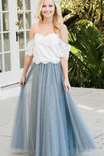 Load image into Gallery viewer, Two Piece Floor Length Prom Dress with Lace 2 Piece Off Shoulder Tulle Bridesmaid Dress XHMPST14774
