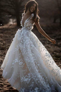 A Line Ivory V Neck Country Wedding Dresses with Appliques Beach Wedding Gowns XHMPST15548