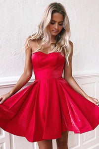 Simple Red Satin Sweetheart Strapless Homecoming Dresses Above Knee Short Prom XHMPST13939
