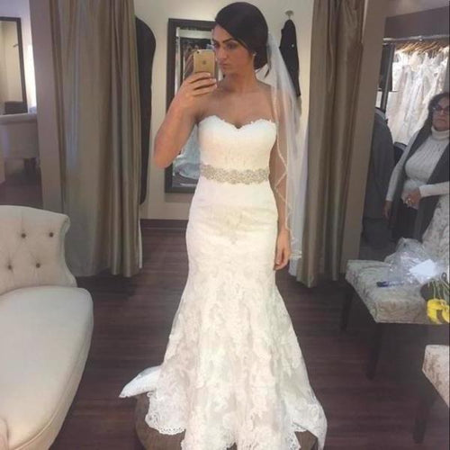 White lace sweetheart sequins mermaid floor length prom dress Wedding XHMPST14502