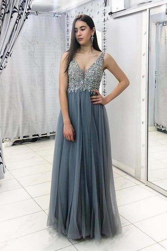 Unique Grey Beads Long Prom Dresses V Neck Tulle Cheap Evening XHMPST14333