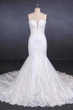 Load image into Gallery viewer, Charming Strapless Sweetheart Mermaid Lace Appliques White Wedding Dresses XHMPST15128