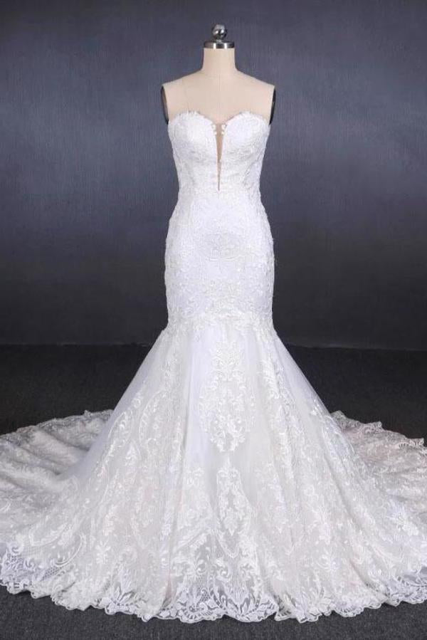Charming Strapless Sweetheart Mermaid Lace Appliques White Wedding Dresses XHMPST15128