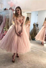 Load image into Gallery viewer, Princess Ball Gown Pink Tulle Off the Shoulder Lace up Homecoming Dresses with XHMPST13255