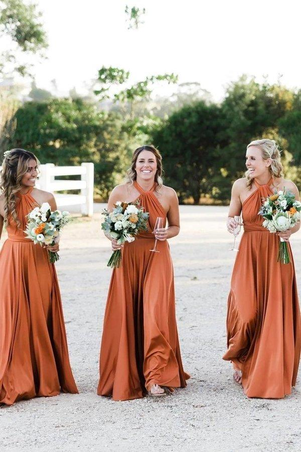Simple Long Halter Bridesmaid Dresses A-Line Backless Sexy Bridesmaid Dress XHMPST15392