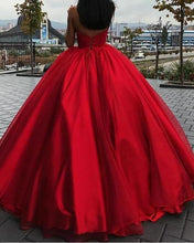 Load image into Gallery viewer, Unique Ball Gown Red Strapless Sweetheart Long Prom Dresses Quinceanera XHMPST14315