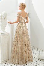 Load image into Gallery viewer, Elegant A Line V Neck Off the Shoulder Beads Prom Dresses with Lace XHMPST20414