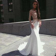 Load image into Gallery viewer, White Mermaid Long Sleeves Seen Through Long Prom XHMPST14508
