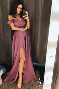 Simple A Line Off the Shoulder V Neck Ruffles Prom Dresses Slit Long Evening XHMPST13840